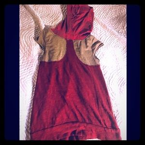 Free people hooded tee red and sage with pockets